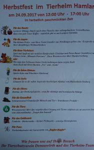 Herbstfest im Tierheim Hamlar am 23.09.2017